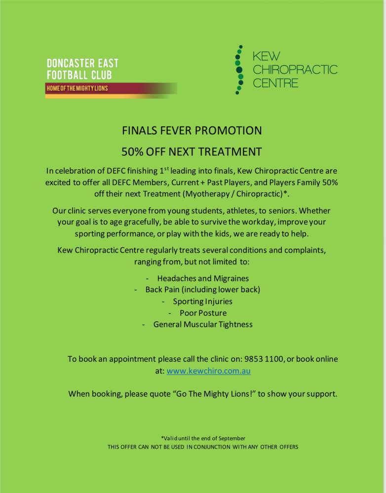 Kew Chiropractic Centre Finals Fever Promotion, 50% Off Next Treatment